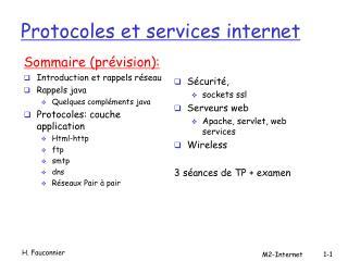 Protocoles et services internet