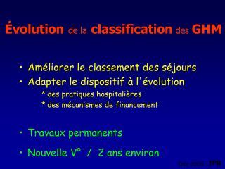 Évolution de la classification  des  GHM