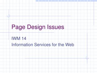 Page Design Issues