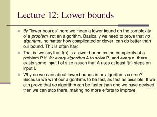Lecture 12: Lower bounds
