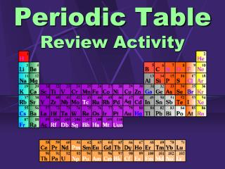 Periodic Table Review Activity