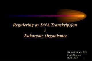 Regulering av DNA Transkripsjon  i  Eukaryote Organismer