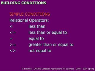 BUILDING CONDITIONS