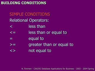BUILDING CONDITIONS