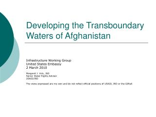 Developing the Transboundary Waters of Afghanistan