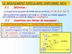 IV- MOUVEMENT CIRCULAIRE UNIFORME: MCU