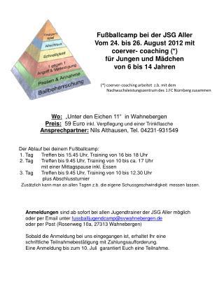 Fußballcamp bei der JSG Aller Vom 24. bis 26. August 2012 mit coerver- coaching (*)