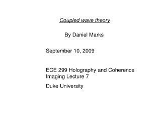 Coupled wave theory