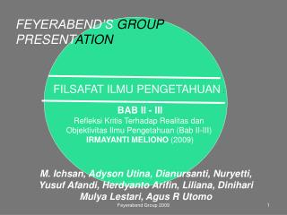 FILSAFAT ILMU PENGETAHUAN  :  BAB II - III Refleksi Kritis Terhadap Realitas dan