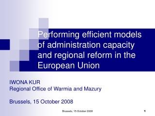 Performing efficient models of administration capacity and regional reform in the European Union