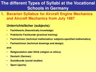 The different Types of Syllabi at the Vocational Schools in Germany