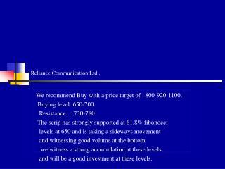 Reliance Communication Ltd.,