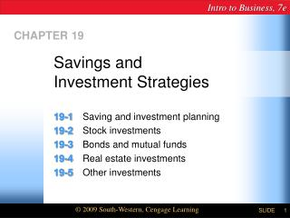 Savings and  Investment Strategies