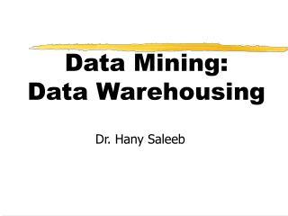 Data Mining:  Data Warehousing