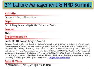 2 nd  Lahore Management & HRD Summit