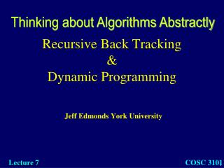 Recursive Back Tracking & Dynamic Programming