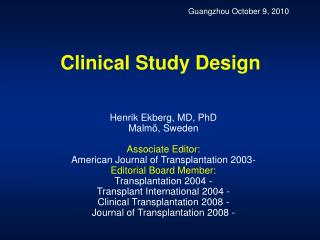 Clinical Study Design