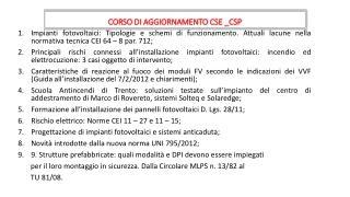 CORSO DI AGGIORNAMENTO CSE _CSP