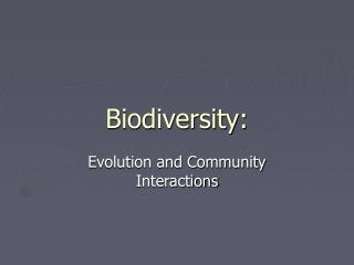Biodiversity: