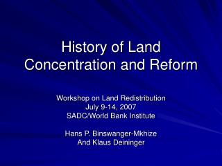 History of Land Concentration and Reform