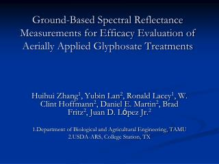 Ground-Based Spectral Reflectance Measurements for Efficacy Evaluation of Aerially Applied Glyphosate Treatments