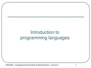 Introduction to programming languages