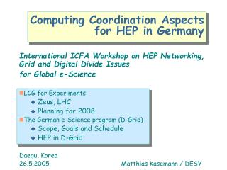 Computing Coordination Aspects  for HEP in Germany
