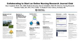 Collaborating to Start an Online Nursing Research Journal Club Rose Campbell, MLIS, MS, AHIP, Medical Librarian; Sherrie
