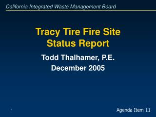 Tracy Tire Fire Site Status Report