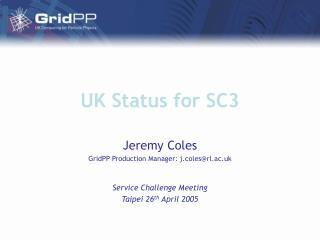 UK Status for SC3