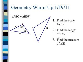 Geometry Warm-Up 1/19/11