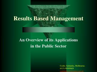 Results Based Management