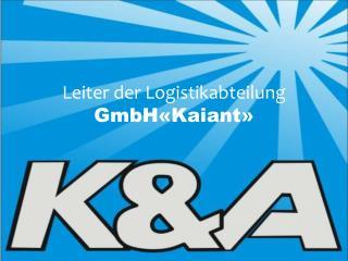 Leiter der  Logistikabteilung GmbH « Kaiant »