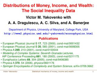 Distributions of Money, Income, and Wealth:  The Social Inequality Data