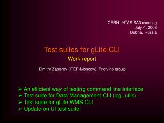 Test suites for gLite CLI