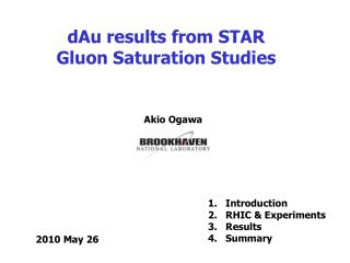dAu results from STAR Gluon Saturation Studies