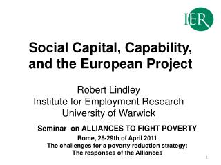 Social Capital, Capability, and the European Project