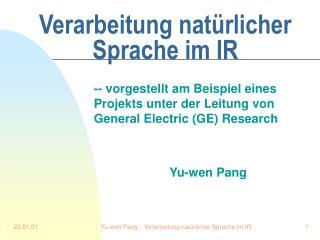 Verarbeitung natürlicher Sprache im IR