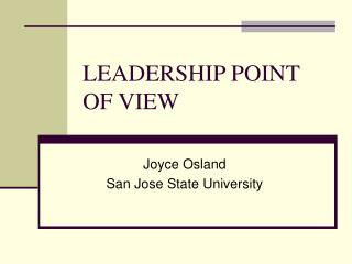 LEADERSHIP POINT OF VIEW
