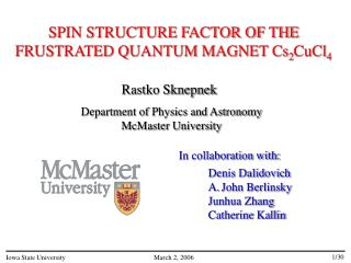 SPIN STRUCTURE FACTOR OF THE FRUSTRATED QUANTUM MAGNET Cs 2 CuCl 4