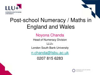 Post-school Numeracy / Maths in England and Wales