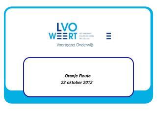 Oranje Route 23 oktober 2012