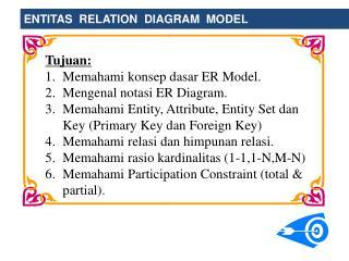 Tujuan: Memahami konsep dasar ER Model. Mengenal notasi ER Diagram.