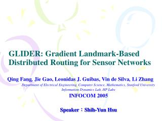 GLIDER: Gradient Landmark-Based Distributed Routing for Sensor Networks