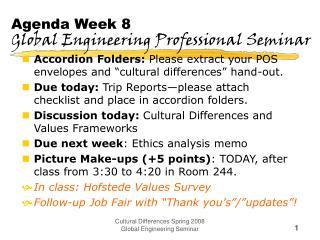 Agenda Week 8 Global Engineering Professional Seminar