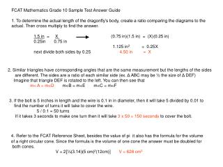 FCAT Mathematics Grade 10 Sample Test Answer Guide