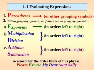 1-1 Evaluating Expressions