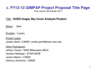 a.  FY12-13 GIMPAP Project Proposal Title Page Final  v ersion  28 October  2011