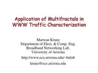 Application of Multifractals in WWW Traffic Characterization