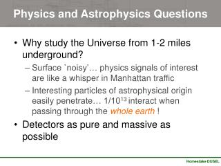 Physics and Astrophysics Questions